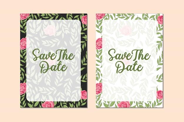 バラの花と葉のフレームデザインテンプレートで美しい結婚式の招待カードのバンドル