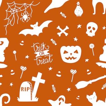 かぼちゃとハロウィーンのためのシームレスなパターン。