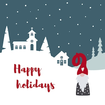 かわいいスカンジナビアのグノームトムテとメリークリスマスカード