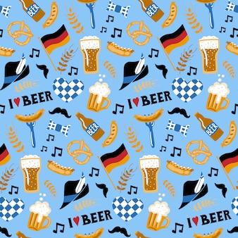 落書きスタイルビールと食品のシームレスなパターン。