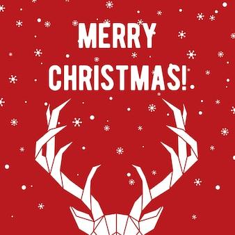 鹿と雪片のあるメリークリスマスの挨拶カード