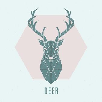 抽象的な北欧の鹿のエンブレム。