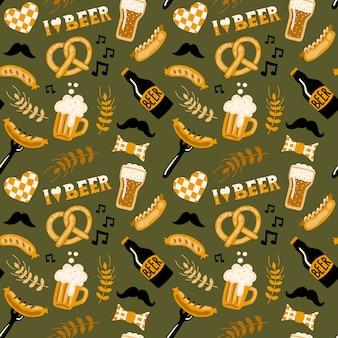 オクトーバーフェストビールと食品のシームレスなパターン。
