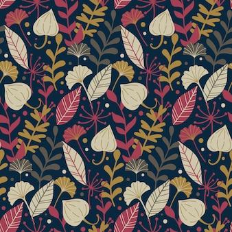 野生の花の要素と現代のシームレスなパターン。