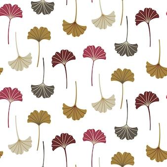 イチョウの葉とモダンなシームレスなパターン。