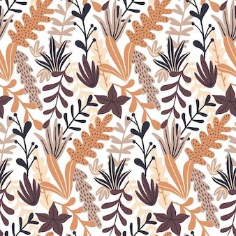 野生の花の要素と秋のシームレスなパターン。
