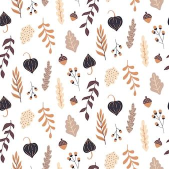 花の要素と秋のシームレスなパターン。