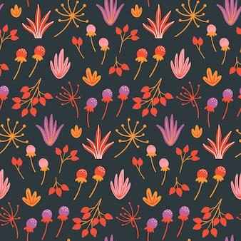 花、葉、ハーブとシームレスな花柄。
