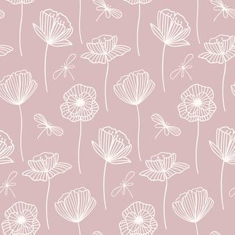 ポピー花と花のシームレスなパターン。