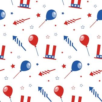 アメリカ独立記念日のためのシームレスなパターン。