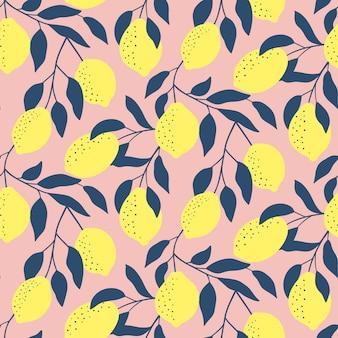 Модный бесшовный узор со свежими лимонами.