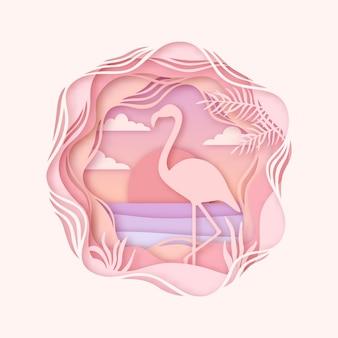 折り紙のフラミンゴのシルエット。