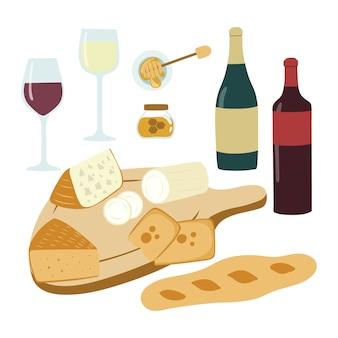 ワインとチーズ手描きのイラストセット。