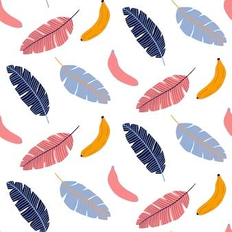 バナナと葉のカラフルなシームレスなパターン。