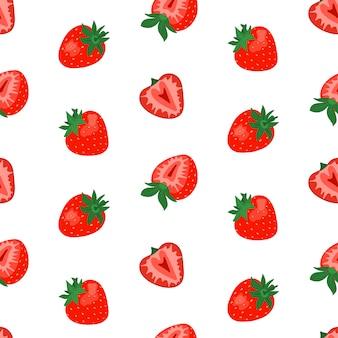白い背景にかわいいイチゴとシームレスなパターン。