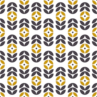 スカンジナビアスタイルの抽象的なシームレスな幾何学模様。レトロな花柄。ベクトルの壁紙。