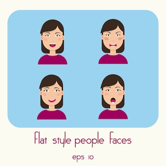 若い女性の顔が青の背景に分離されました。