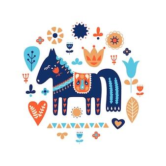 北欧の装飾品フォークアートパターン