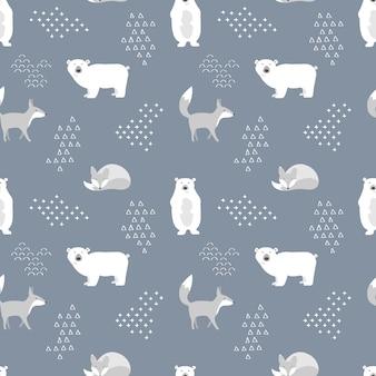 北欧のクマとキツネのシームレスパターン。