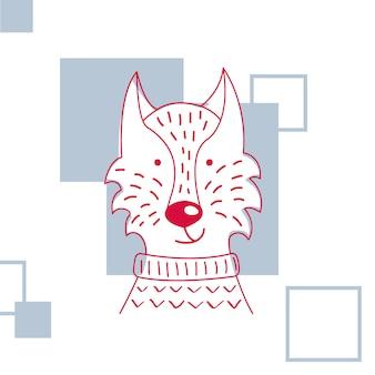 Векторная иллюстрация милый волк свитер.