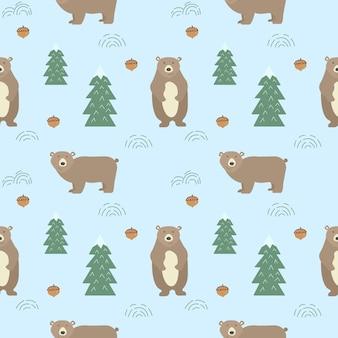 かわいいクマとのシームレスな背景。