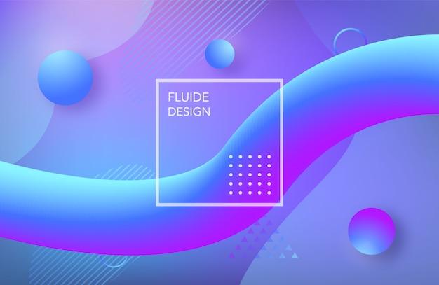 液体の青い色の背景デザイン。