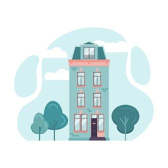 アムステルダムの背の高い家の漫画イラスト。