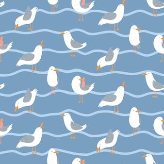 Бесшовный фон с чайками и волнами.