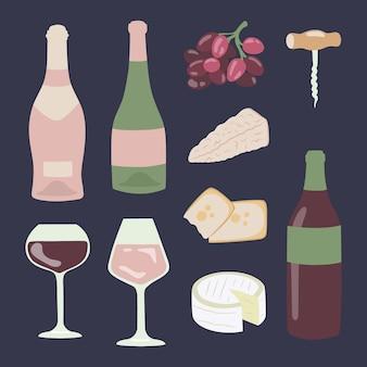 ワインとチーズの手描きのイラストセット。