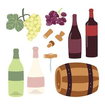 ワイン造りの手描きのイラストセット。