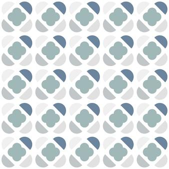 半円と北欧スタイルのクローバー形のシームレスパターン。