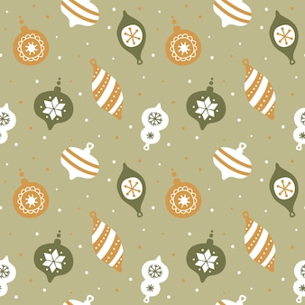かわいいクリスマスツリーの飾りと手描きのシームレスなパターン。