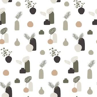 Бесшовный фон с вазами и листьями.