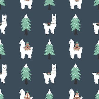 Бесшовный образец с милыми ламами, подарочными коробками и рождественской елкой.
