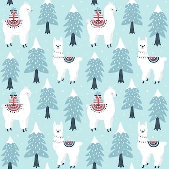 クリスマスツリーとギフトボックスのシームレスなパターンを持つかわいいラマ。