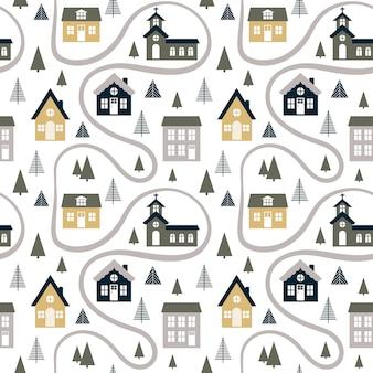 Абстрактная безшовная картина с милыми домами, деревьями и дорогой.