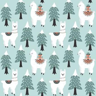 Рождественская елка и милый лама с подарочные коробки бесшовные модели.
