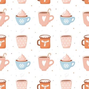 かわいいココアカップとマシュマロとのシームレスなパターン。