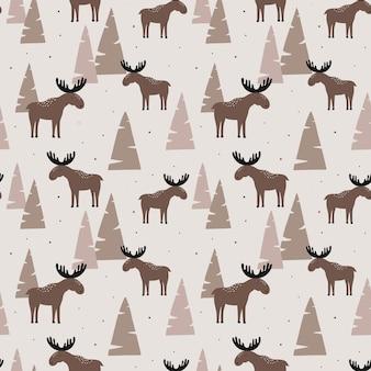 森の中のエルクとのシームレスなパターン。