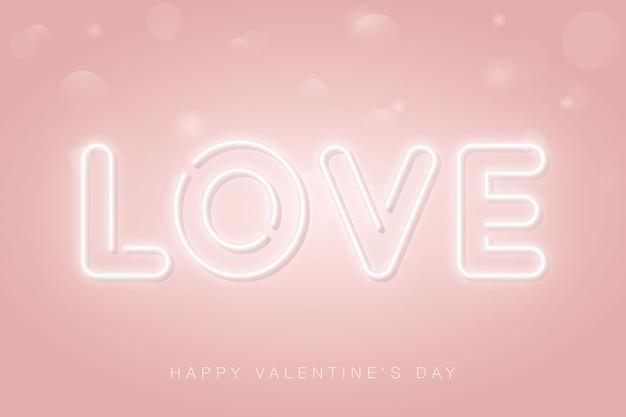 Любовь неоновая вывеска. с днем святого валентина розовый