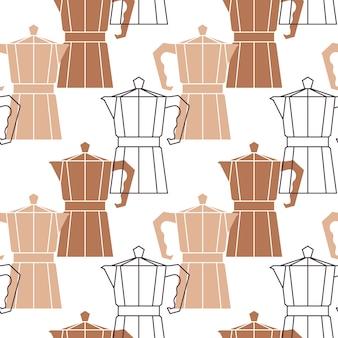 Абстрактный повторяющийся узор с кофейниками.