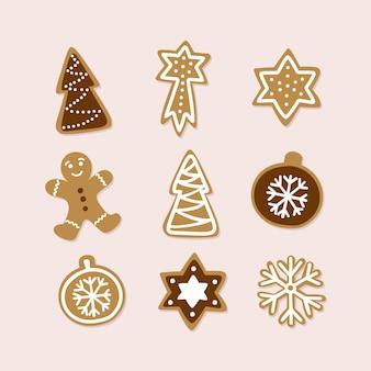 伝統的なクリスマスクッキーの手描きのコレクション。