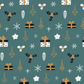装飾的なクリスマスシームレスパターン。