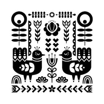 鳥のフォークアートパターン。