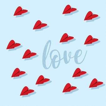 Сладкий валентинка с сердечками из бумажного самолетика