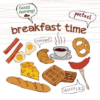 朝食時間の落書き。孤立した手描きのベクトル図