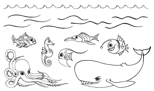 手描きのスケッチセット海の動物、水中の世界。