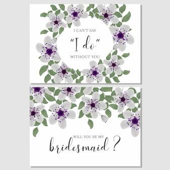 Цветочный шаблон поздравительной открытки подружки невесты
