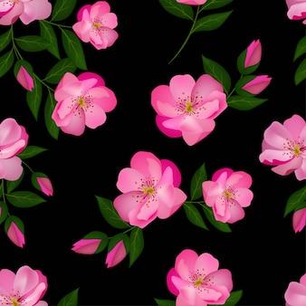 ピンクの咲くバラのシームレスパターン