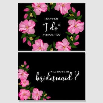 ピンクの花の花嫁介添人グリーティングカード
